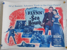 Sea Hawk, Original Half Sheet Poster, Errol Flynn, Claude Rains, 'r47